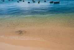 Anchoring fisher boats at brazilian coastline in summer Royalty Free Stock Photo
