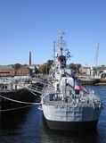 Anchoring warship in Boston Stock Photo