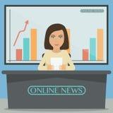 Anchorman, αναγγέλλων ειδήσεων στο στούντιο απεικόνιση αποθεμάτων