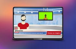 Anchorman in Breaking News. Banner Breaking News template in realistic laptop on colour background. Concept for screen TV channel. Flat vector illustration stock illustration