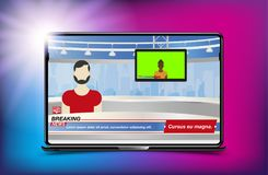 Anchorman in Breaking News. Banner Breaking News template in realistic laptop on colour background. Concept for screen TV channel. Flat vector illustration royalty free illustration