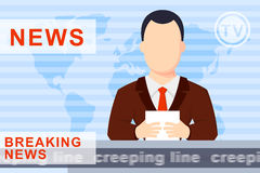 Anchorman flat  illustration Royalty Free Stock Photo