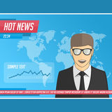Anchorman hot news Royalty Free Stock Image