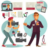 Anchorman with Microphone and Cameraman near. Royalty Free Stock Photography