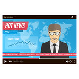 Anchorman news in video player Royalty Free Stock Image