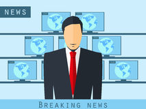 Anchorman sitting at the desk. Breaking news, studio reporter. Anchorman broadcast news. The news announcer. Stock Image