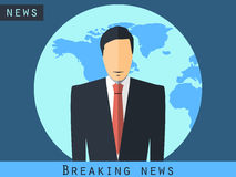 Anchorman sitting at the desk. Breaking news, studio reporter.  Royalty Free Stock Photography