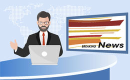 Anchorman of television news illustration Royalty Free Stock Images