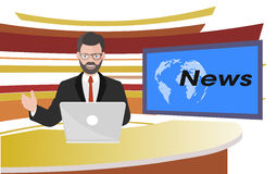 Anchorman of television news illustration Stock Photo
