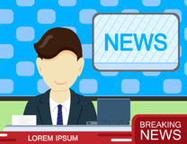 Anchorman in the TV. Breaking News broadcast, speaker. Vector flat style Royalty Free Stock Images