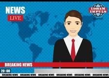 Anchorman on tv broadcast news. Breaking News vector illustration. Stock Photo