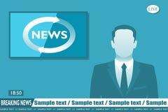 Anchorman breaking news vector illustration
