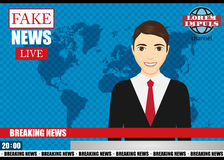 Anchorman on tv broadcast news. Fake Breaking News vector illustration. Stock Photography