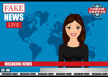 Anchorman on tv broadcast news. Fake Breaking News vector illustration. Stock Images