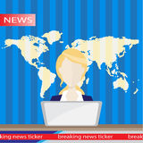 Anchorman on tv broadcast news. flat vector illustration. with the release of breaking . Royalty Free Stock Photo