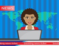 Anchorman on tv broadcast news. flat vector illustration. with the release of breaking . Stock Photo