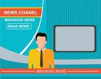 Anchorman on tv, flat vector illustration Stock Photo