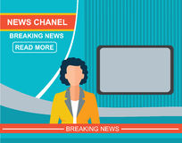 Anchorman on tv, woman flat vector illustration Stock Photography