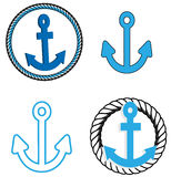 Anchors. A set of blue anchor icons Royalty Free Stock Image