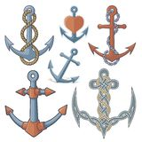 Anchors. Set of six anchor icons  on white background Royalty Free Stock Image