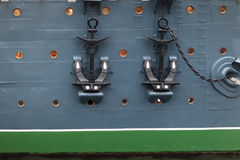 Anchors of Aurora cruiser Royalty Free Stock Image