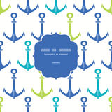 Anchors blue and green frame seamless pattern Royalty Free Stock Image