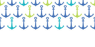 Anchors blue and green hoizontal seamless pattern backgound Royalty Free Stock Image