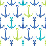 Anchors blue and green seamless pattern backgound Stock Image