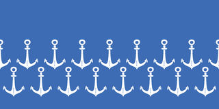 Anchors blue and white horizontal border seamless Royalty Free Stock Photography