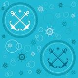 Anchors bubbles handwheels seamless. Vector pattern with anchors, bubbles and handwheels Royalty Free Stock Photos