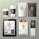 The anchors coffee shop corporate identity template design set. On wood background Stock Photos