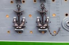 Anchors of cruiser Aurora - the legendary revolutionary ship Royalty Free Stock Photo