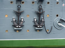 Anchors on the cruiser Aurora in St. Petersburg, Russia Stock Photography