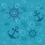 Anchors handwheels seashells. Vector pattern with shells, anchors and handwheels Royalty Free Stock Photos