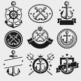 Anchors label and element set. Vector Stock Images