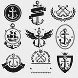 Anchors label and element set. Vector Stock Image
