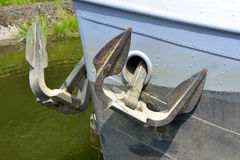 Anchors on motor barge Stock Photo