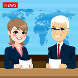 Anchors Reporting News Royalty Free Stock Images