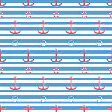 Anchors and rescue buoy seamless pattern Royalty Free Stock Image