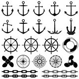 Anchors, rudders, chain, rope, knot vector icons. Nautical elements for marine design Royalty Free Stock Images