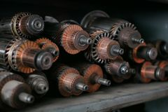 Anchors of starters and alternators stock photo