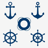 Anchors and steering wheel. Set of images of an anchor, lifebuoy and steering wheel, nautical symbols. ship wheel icons set Vector illustration Royalty Free Stock Images