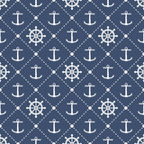 Anchors and steering wheels seamless pattern Royalty Free Stock Photo