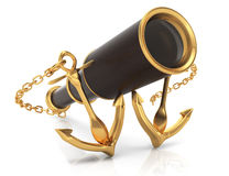 Anchors and telescope Royalty Free Stock Photos