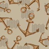 Anchors and waves. Seamless vector pattern. Royalty Free Stock Image