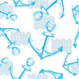 Anchors and waves. Seamless vector pattern. Royalty Free Stock Images