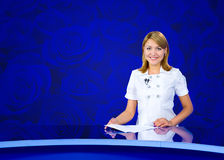 Anchorwoman blue roses wall Stock Images