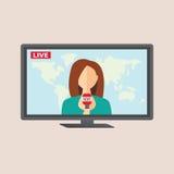 Anchorwoman della televisione allo studio durante la radiodiffusione in tensione Fotografia Stock