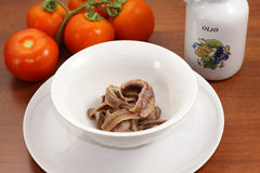 Anchovies on bowl Royalty Free Stock Photography