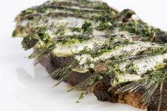 Anchovies on bread oil and parsley stock photography